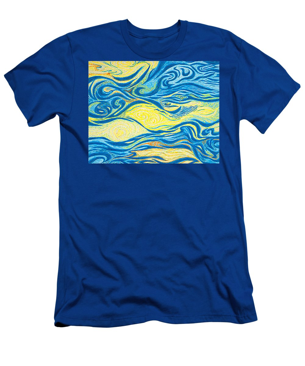 Art T-Shirt featuring the drawing Abstract Art GOOD MORNING Contemporary Modern Artwork Giclee Fine Art Prints Life Cycle Swirls Water by Patti Baslee
