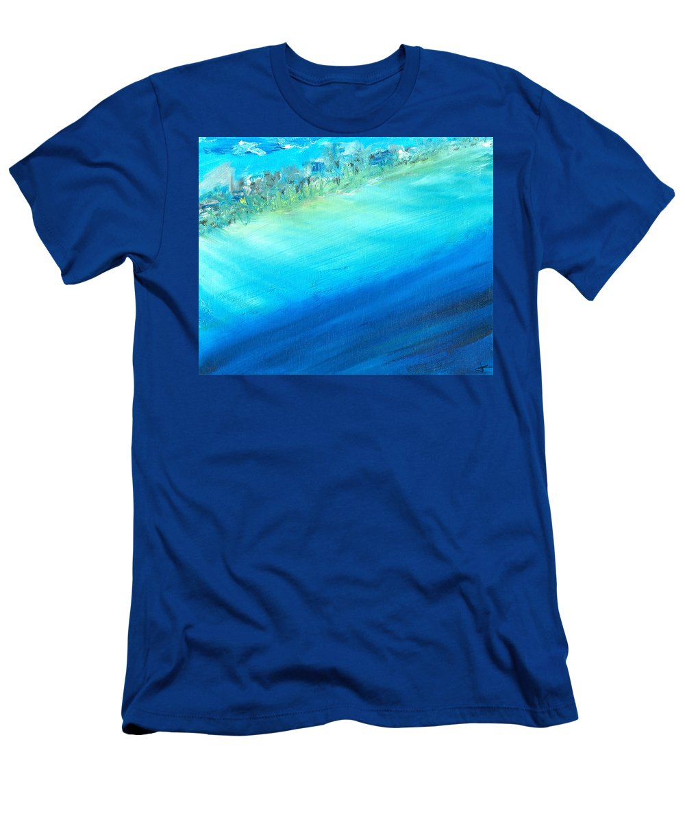 Seashore Men's T-Shirt (Athletic Fit) featuring the painting Aerial Coastline by Jorge Delara