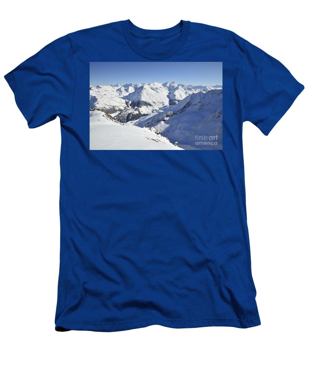 Aiguilles Men's T-Shirt (Athletic Fit) featuring the photograph Aiguilles De La Grande Sassiere by Andy Smy