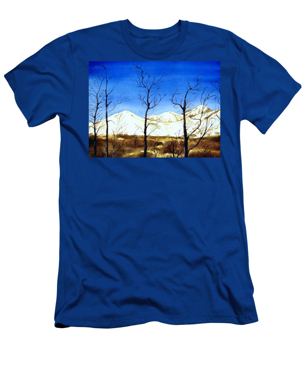 Landscape Men's T-Shirt (Athletic Fit) featuring the painting Alaska Blue Sky Day by Brenda Owen