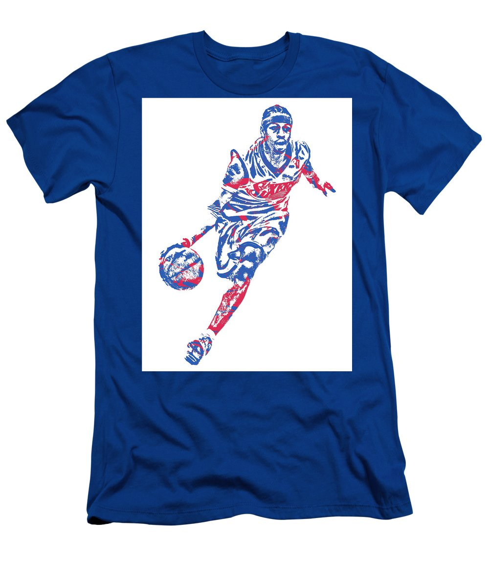 Allen Iverson Men's T-Shirt (Athletic Fit) featuring the mixed media Allen Iverson Philadelphia 76ers Pixel Art 10 by Joe Hamilton