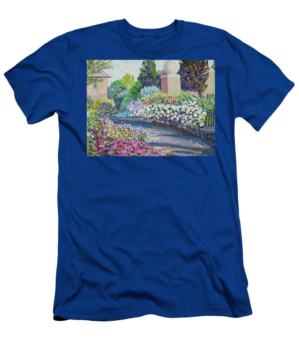 Flowers T-Shirt featuring the painting Amelia Park Pathway by Richard Nowak