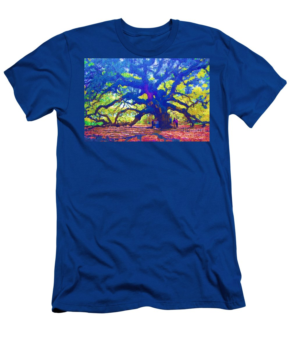 Tree Men's T-Shirt (Athletic Fit) featuring the photograph Angel Oak Tree by Donna Bentley