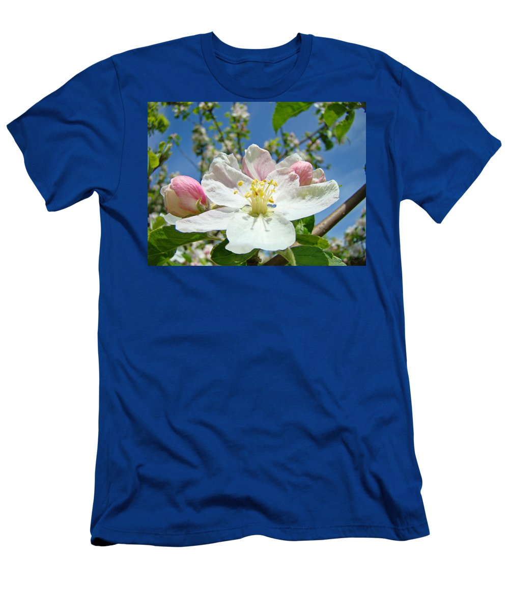 Blossom Men's T-Shirt (Athletic Fit) featuring the photograph Apple Tree Blossom Art Prints Springtime Nature Baslee Troutman by Baslee Troutman