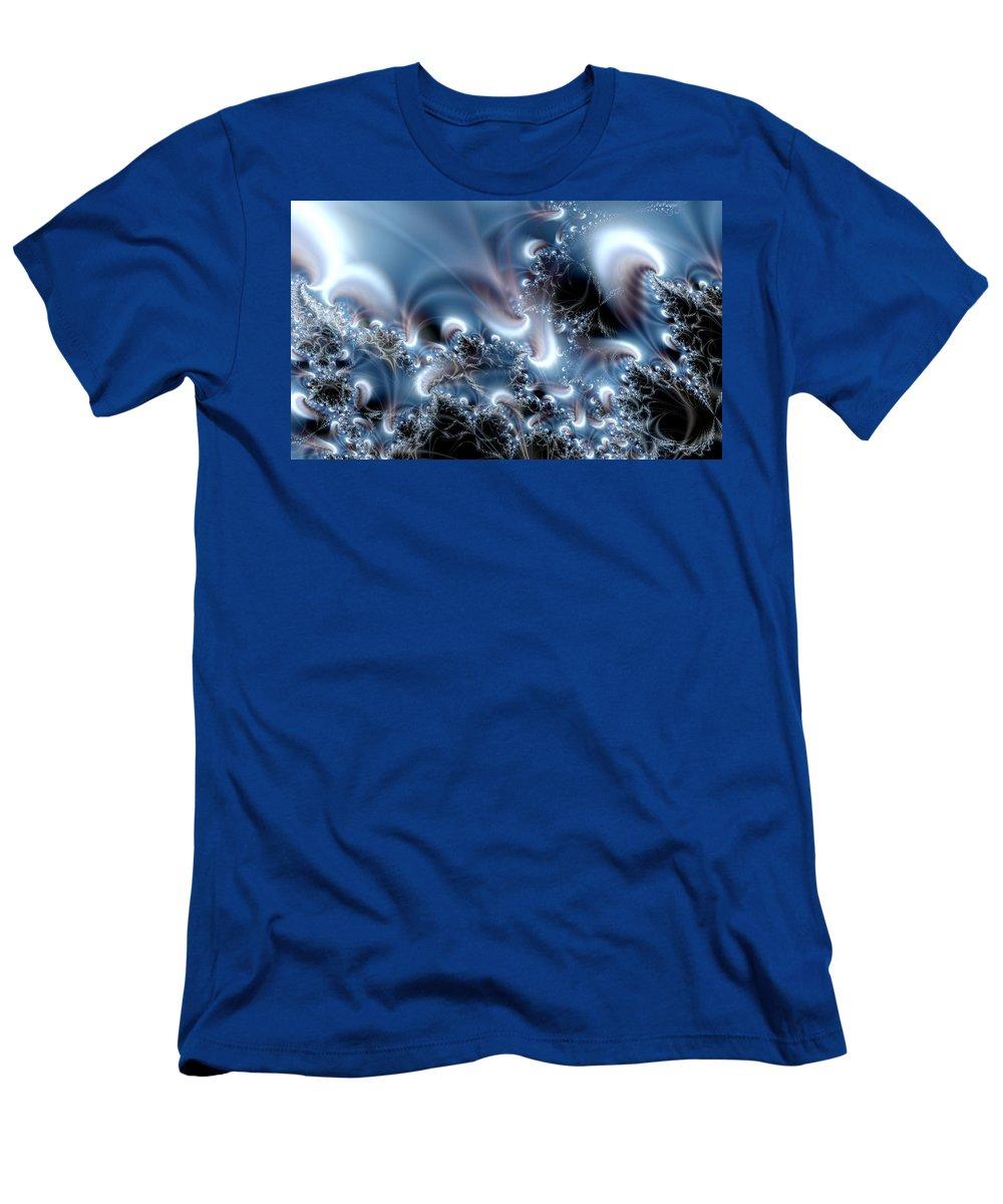 Water Bubbles Blue Nature Flow Men's T-Shirt (Athletic Fit) featuring the digital art Aquafractal by Veronica Jackson