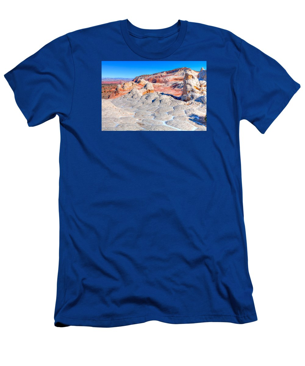 Arizona Men's T-Shirt (Athletic Fit) featuring the photograph Arizona- Paria Plateau- White Pocket by Arlene Waller