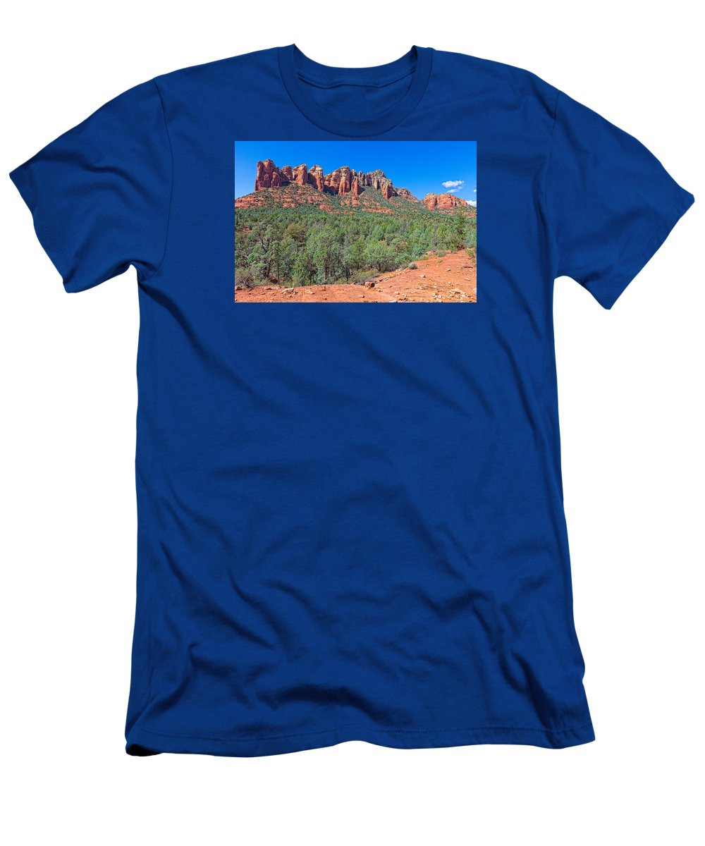 Arizona Men's T-Shirt (Athletic Fit) featuring the photograph Arizona-sedona-soldier's Pass Trail by Arlene Waller