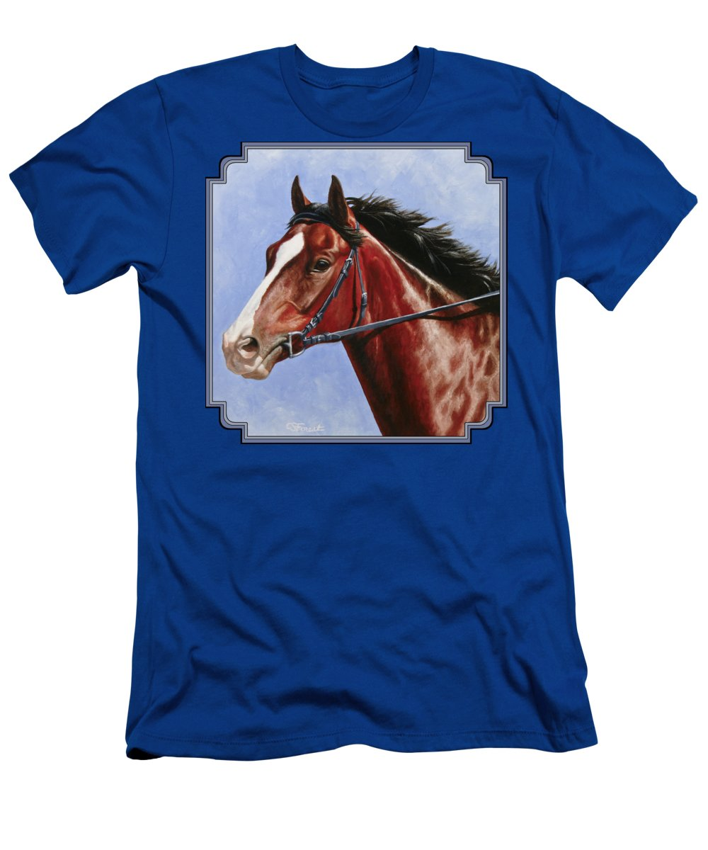 Horse Men's T-Shirt (Athletic Fit) featuring the painting Horse Painting - Determination by Crista Forest