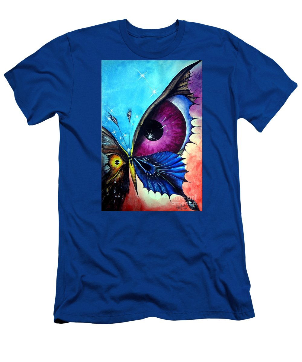 Astral Men's T-Shirt (Athletic Fit) featuring the painting Astral Butterfly. Soul - Memory - Mind by Sofia Metal Queen