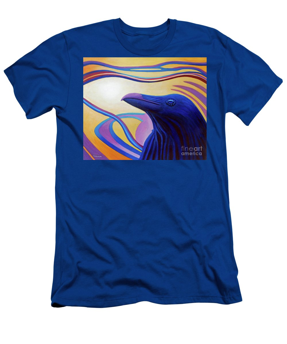 Raven Men's T-Shirt (Athletic Fit) featuring the painting Astral Raven by Brian Commerford