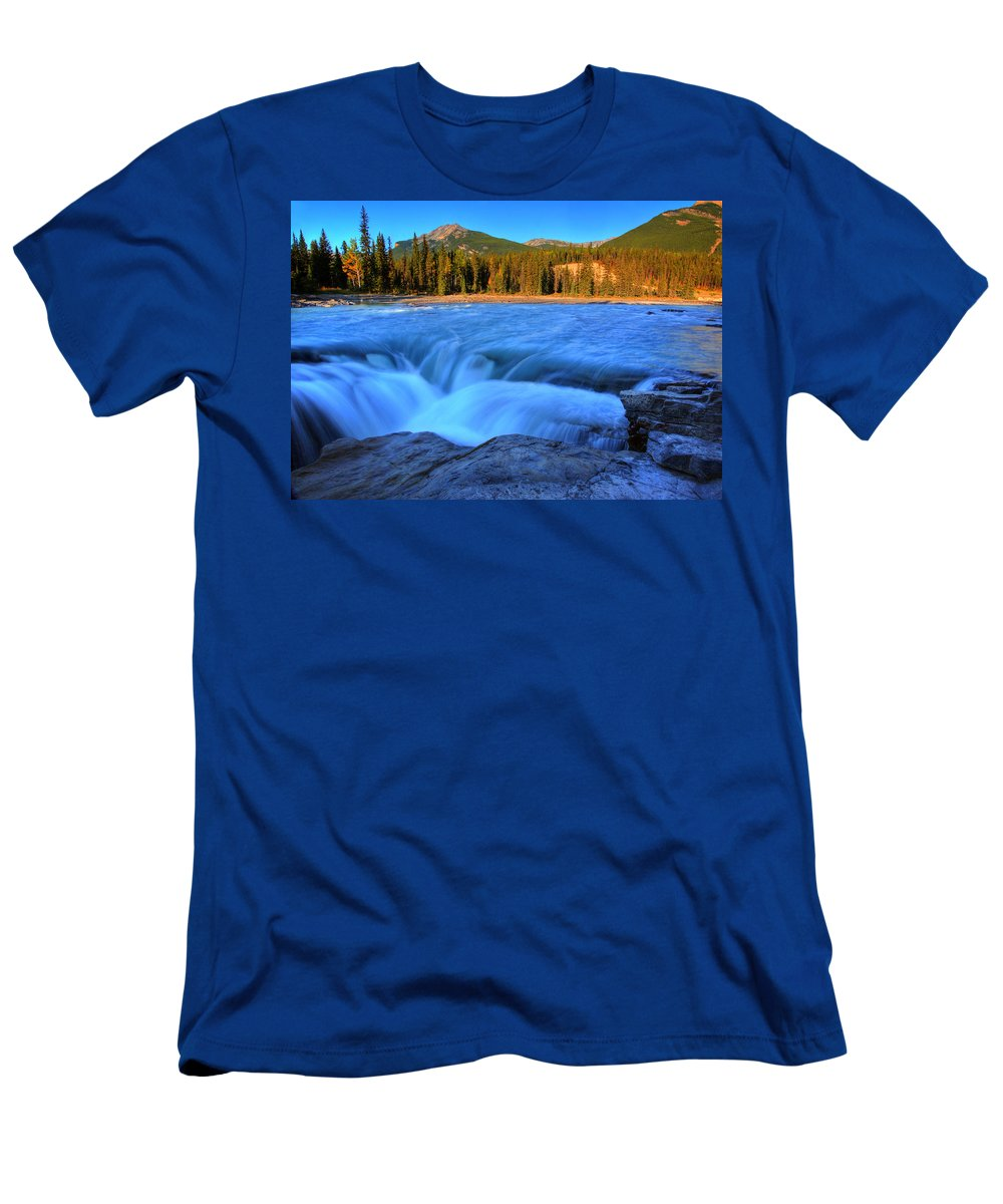 Athabasca River Men's T-Shirt (Athletic Fit) featuring the digital art Athabasca Falls In Jasper National Park by Mark Duffy