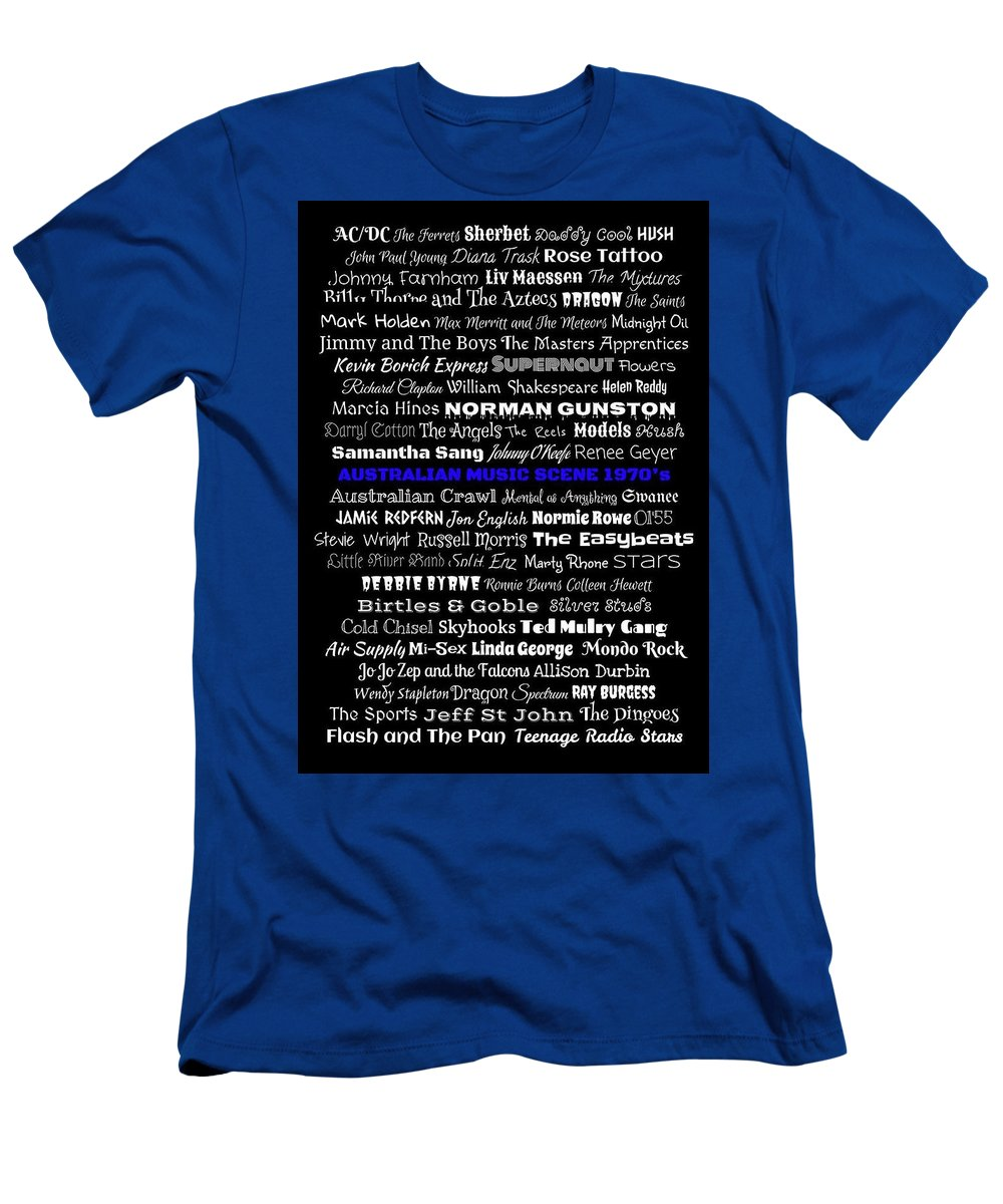 Australian Music Scene 1970's No 7 - A Selection Of The Finest Australian Music In The 1970's. White Text With Blue Centre Line Text On Black Background. Men's T-Shirt (Athletic Fit) featuring the digital art Australian Music Scene 1970's No 7 by LogCabinCottage