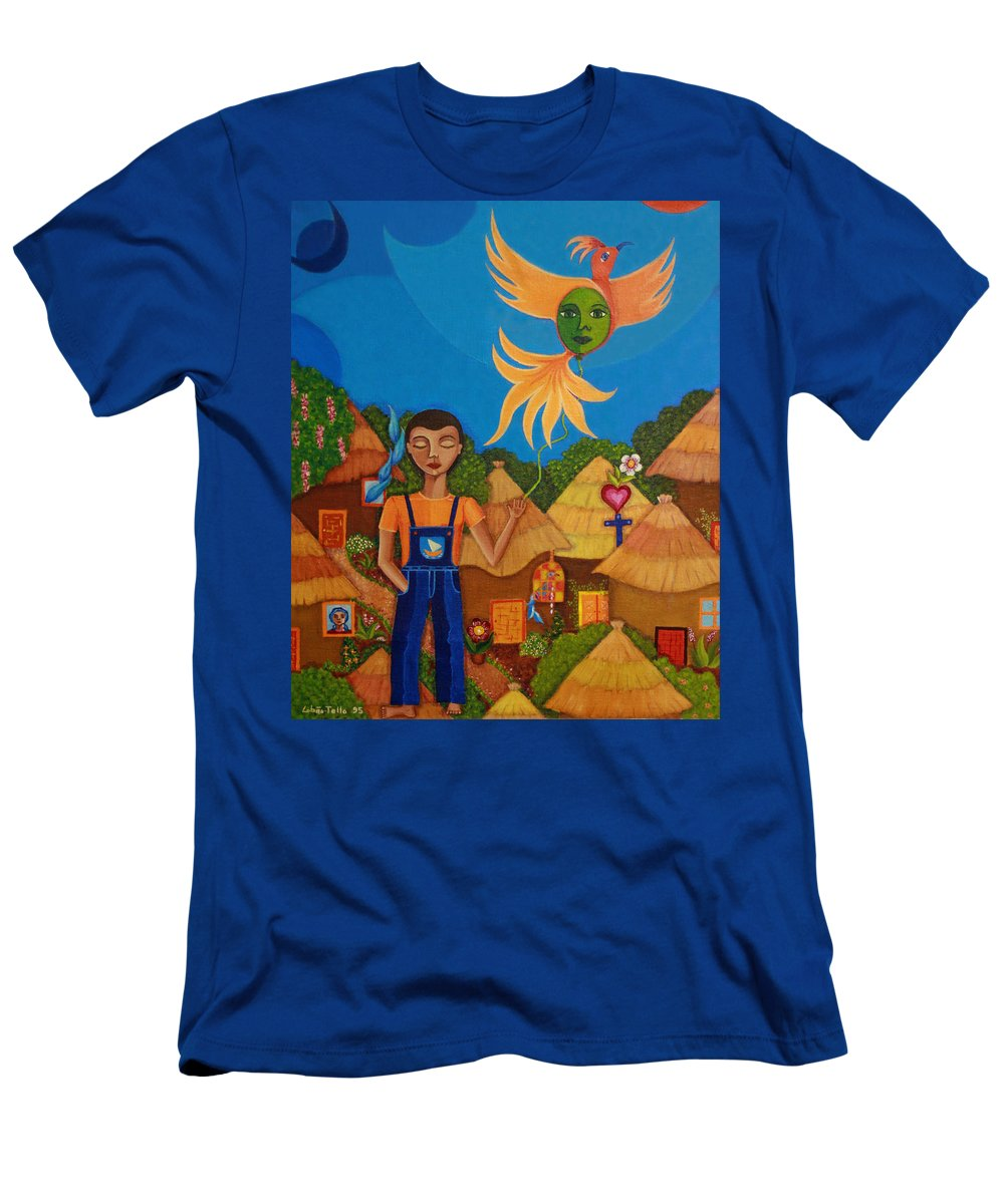 Autism Men's T-Shirt (Athletic Fit) featuring the painting Autism - A Flight To... by Madalena Lobao-Tello