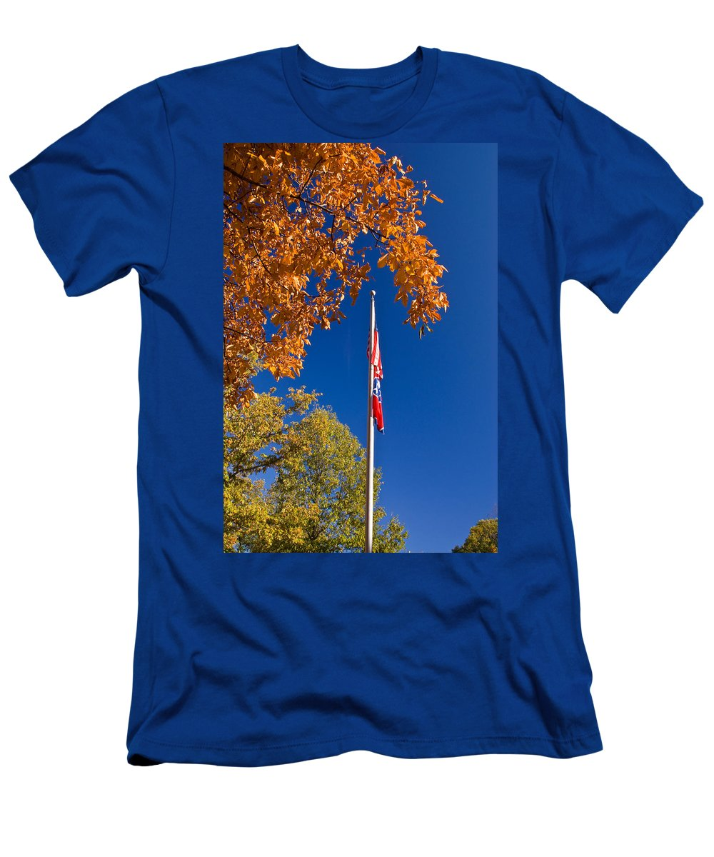 Flag Men's T-Shirt (Athletic Fit) featuring the photograph Autumn Flag by Douglas Barnett
