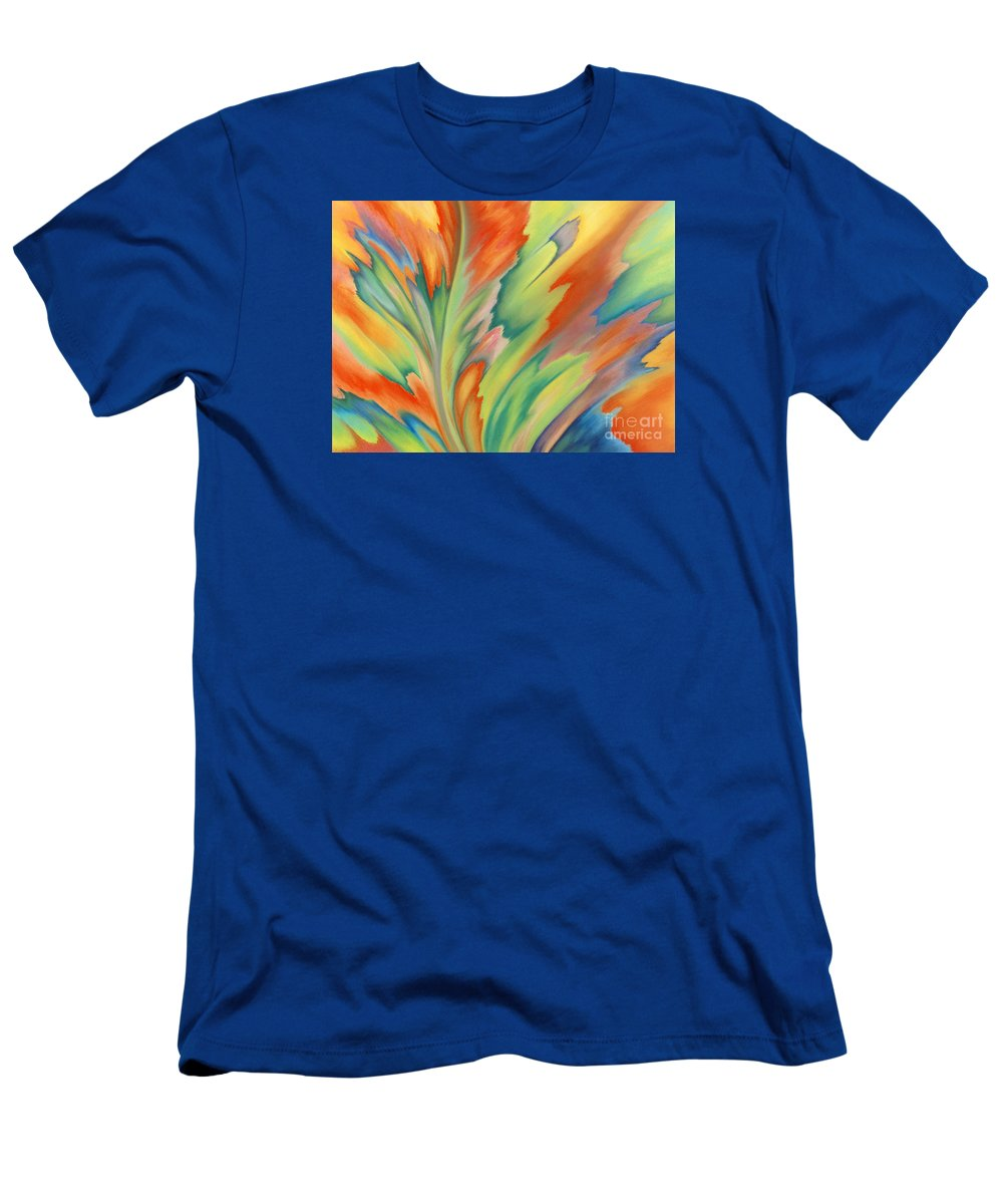 Abstract Men's T-Shirt (Slim Fit) featuring the painting Autumn Flame by Lucy Arnold