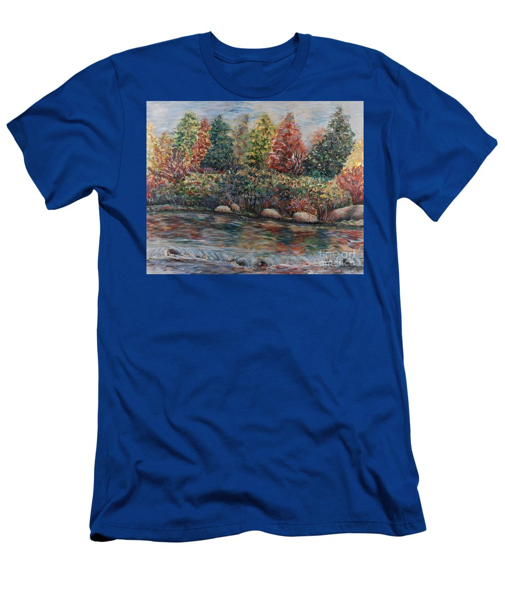 Autumn T-Shirt featuring the painting Autumn Stream by Nadine Rippelmeyer