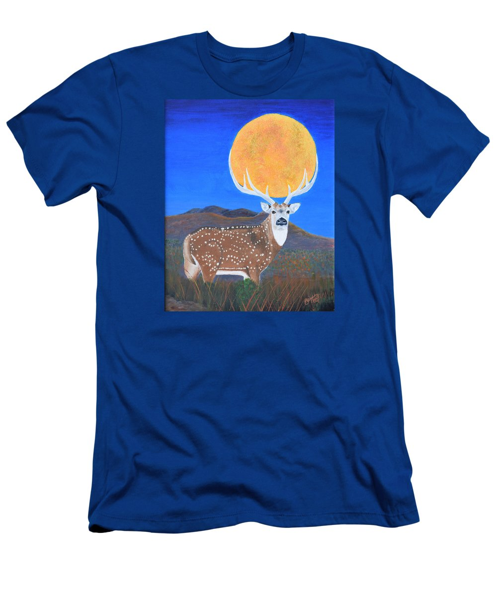 Axis Men's T-Shirt (Athletic Fit) featuring the painting Axis Moon by Belinda Nagy