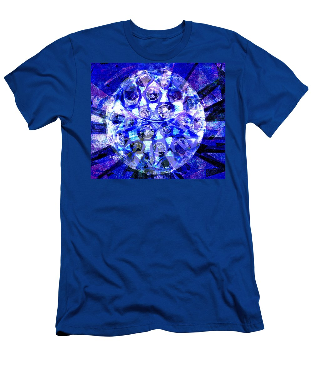 Abstract Men's T-Shirt (Athletic Fit) featuring the digital art Azure Orb Of Midas by Seth Weaver