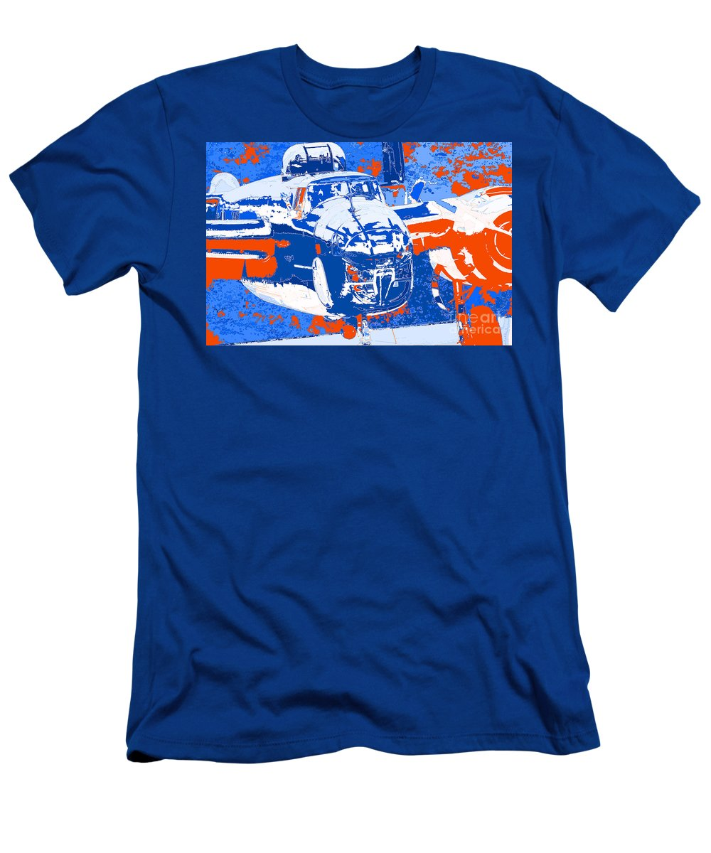 B-25 Blue Red Men's T-Shirt (Athletic Fit) featuring the digital art B-25 Blue Red by Chris Taggart
