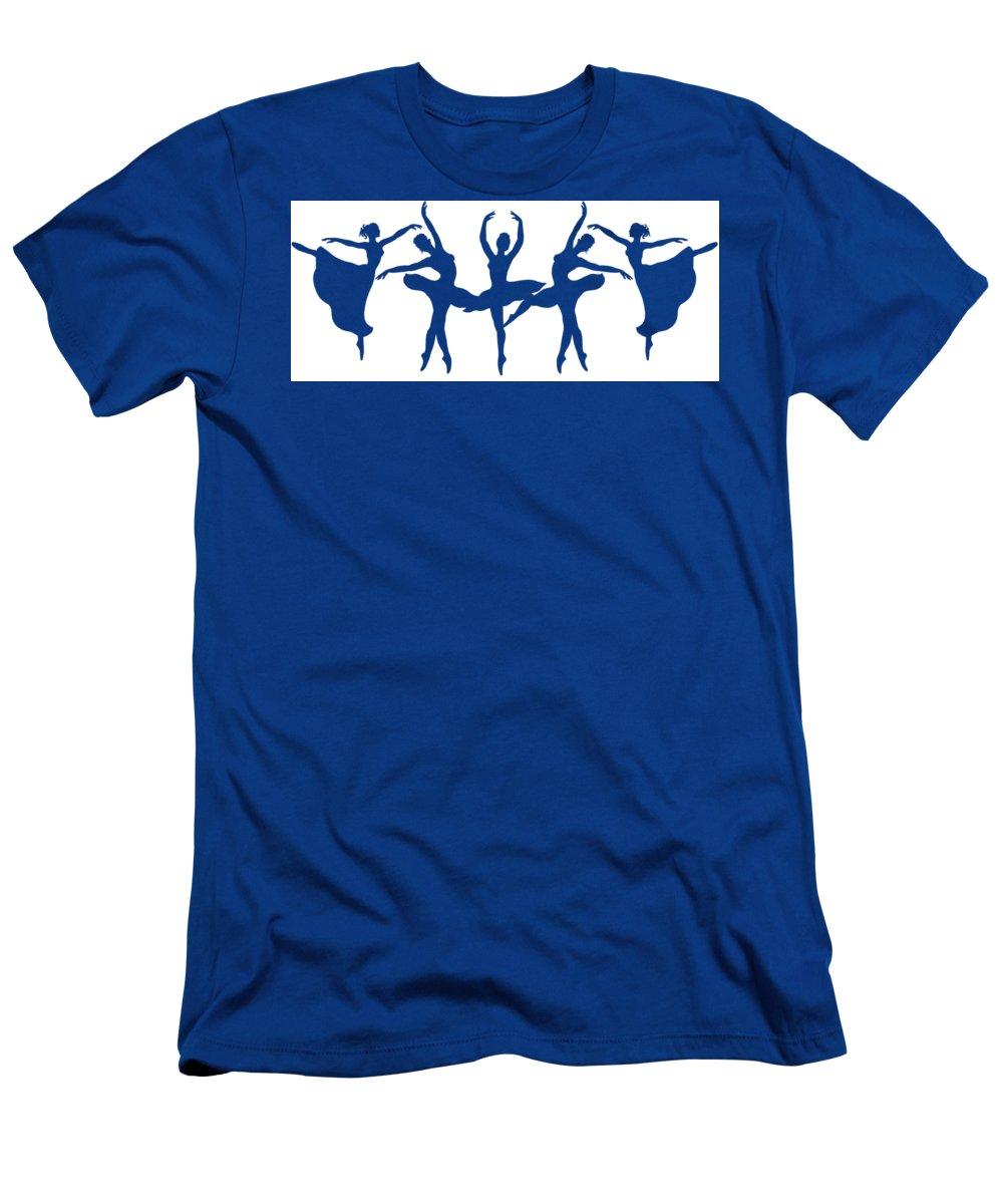 Ballerinas Men's T-Shirt (Athletic Fit) featuring the painting Ballerinas Dancing Silhouettes by Irina Sztukowski
