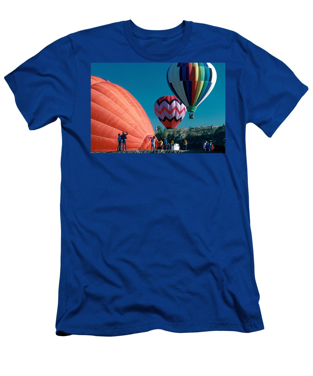 Hot Air Balloon Men's T-Shirt (Athletic Fit) featuring the photograph Ballon Launch by Jerry McElroy
