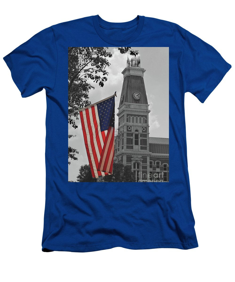 Bartholomew County Men's T-Shirt (Athletic Fit) featuring the photograph Bartholomew County Court House by Jost Houk