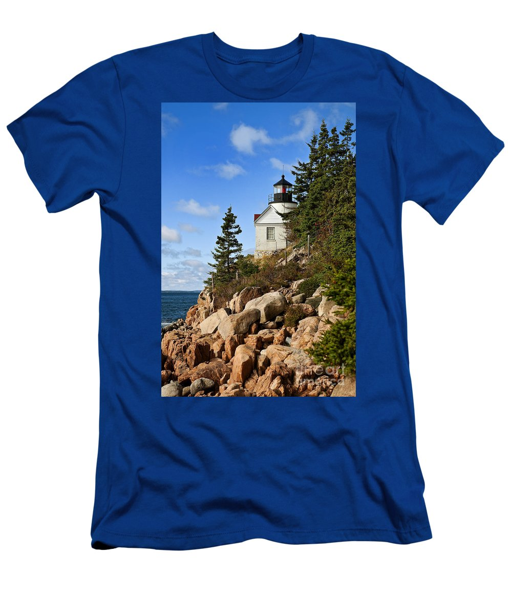 Concept Men's T-Shirt (Athletic Fit) featuring the photograph Bass Harbor Light by John Greim