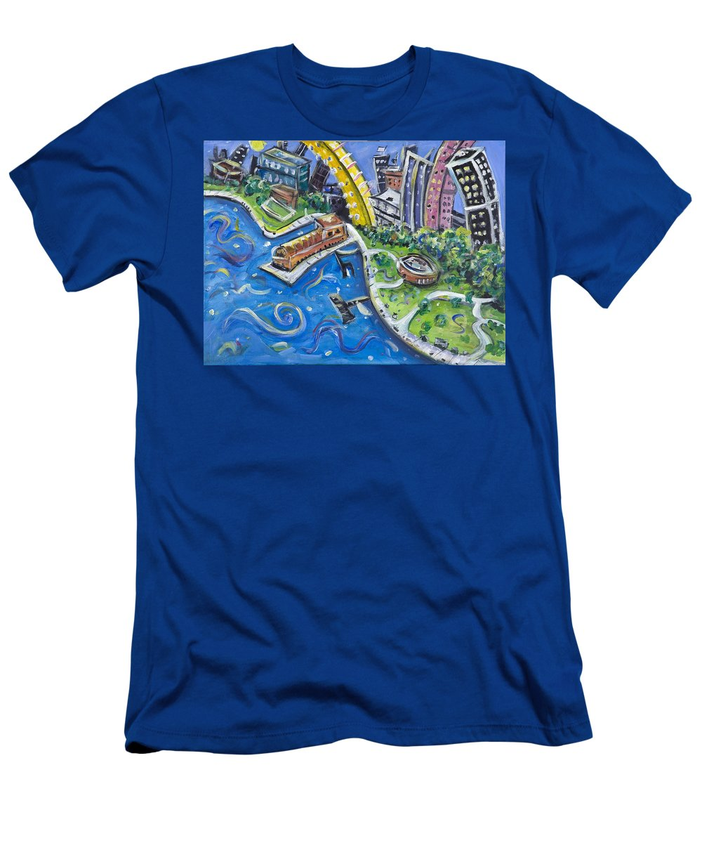 Battery Park New York City Manhattan Wall Street Hudson River Buildings Water Boat South Men's T-Shirt (Athletic Fit) featuring the painting Battery Park by Jason Gluskin