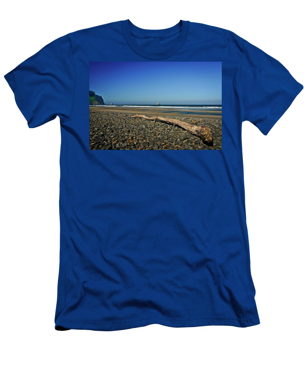 Driftwood Men's T-Shirt (Athletic Fit) featuring the photograph Beach Driftwood by Albert Seger