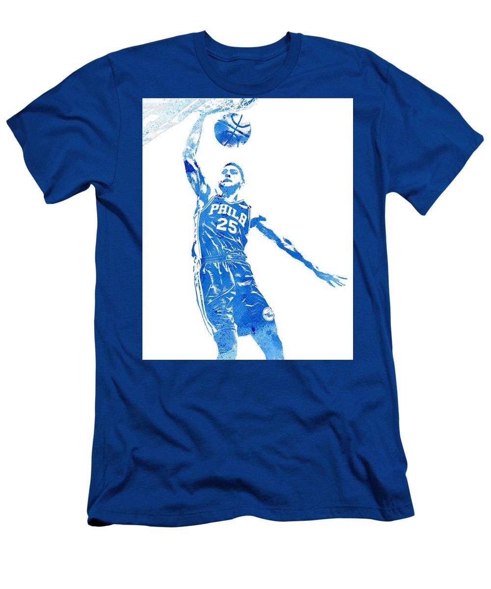 Ben Simmons Men's T-Shirt (Athletic Fit) featuring the mixed media Ben Simmons Philadelphia 76ers Water Color Pixel Art 4 by Joe Hamilton