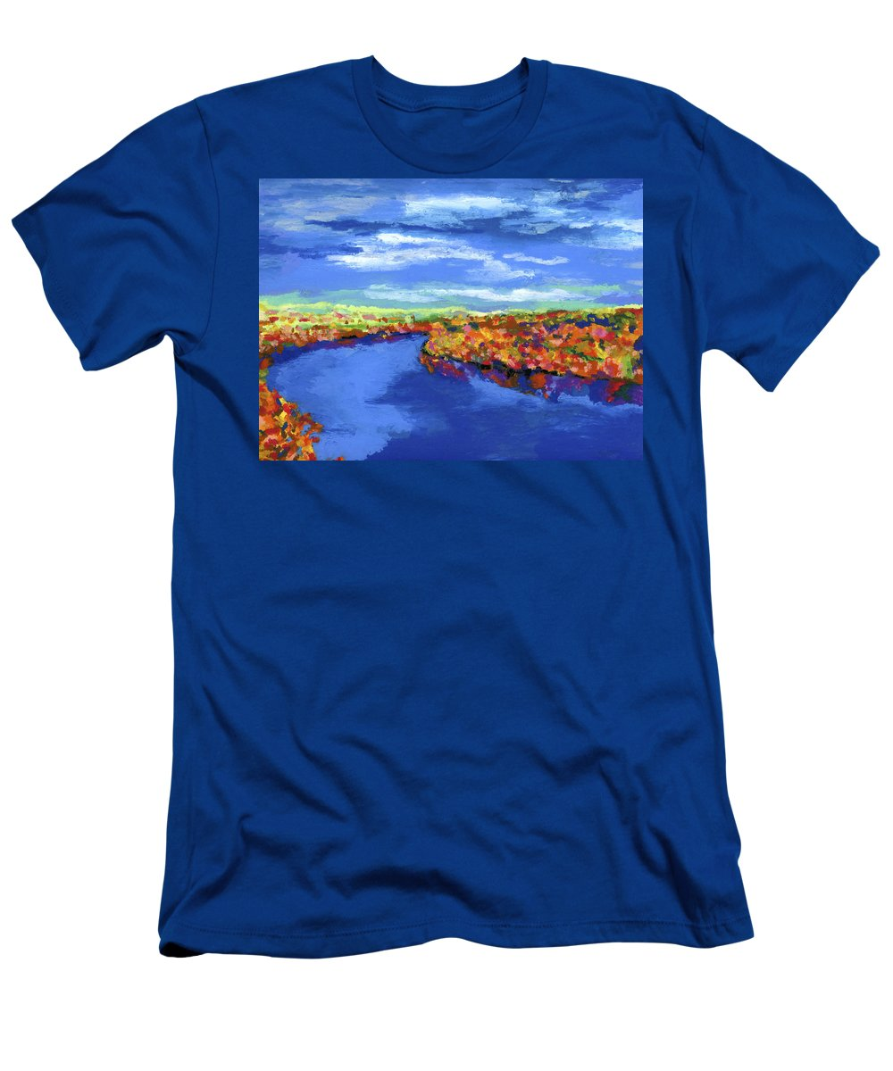 River Men's T-Shirt (Athletic Fit) featuring the painting Bend In The River by Stephen Anderson