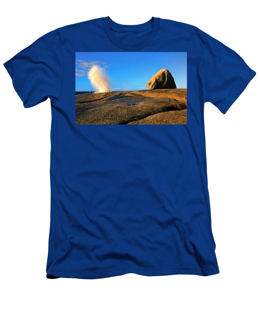 Bicheno Blowhole Men's T-Shirt (Athletic Fit) featuring the photograph Bicheno Blowhole by Mike Dawson