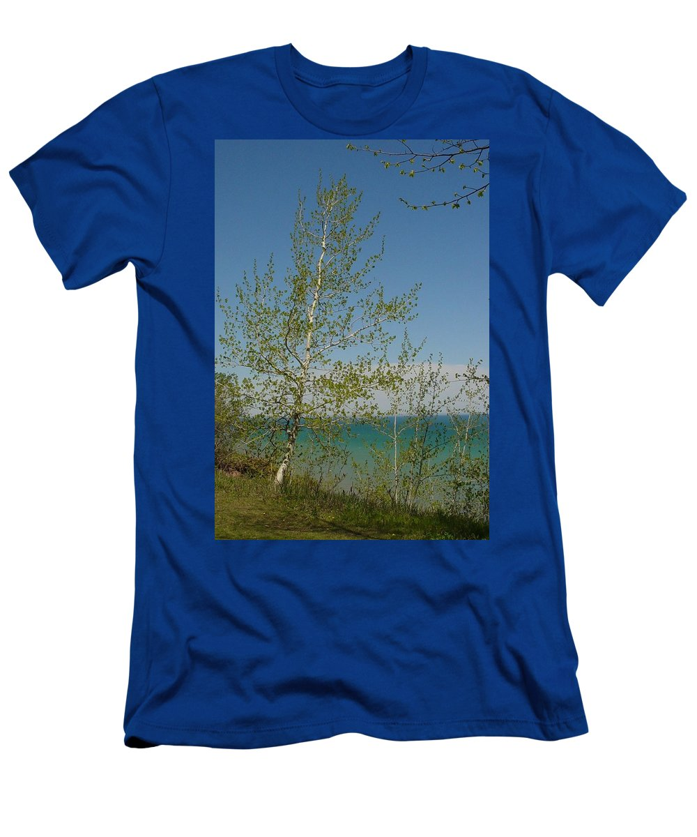 Birch Tree Men's T-Shirt (Athletic Fit) featuring the photograph Birch Tree Over Lake by Anita Burgermeister