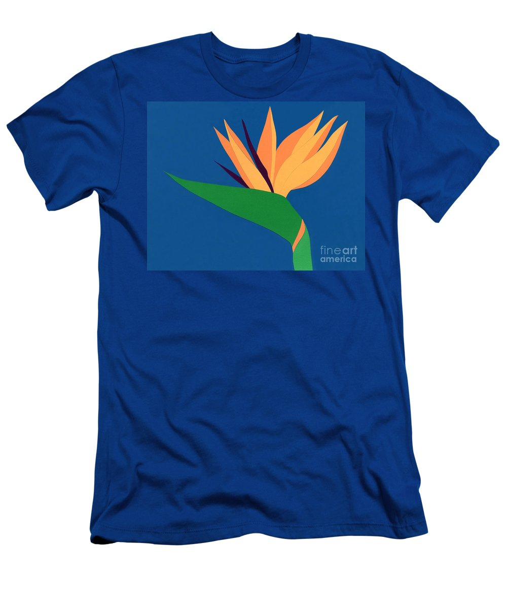 Nature Men's T-Shirt (Athletic Fit) featuring the drawing Bird Of Paradise by Lucyna A M Green