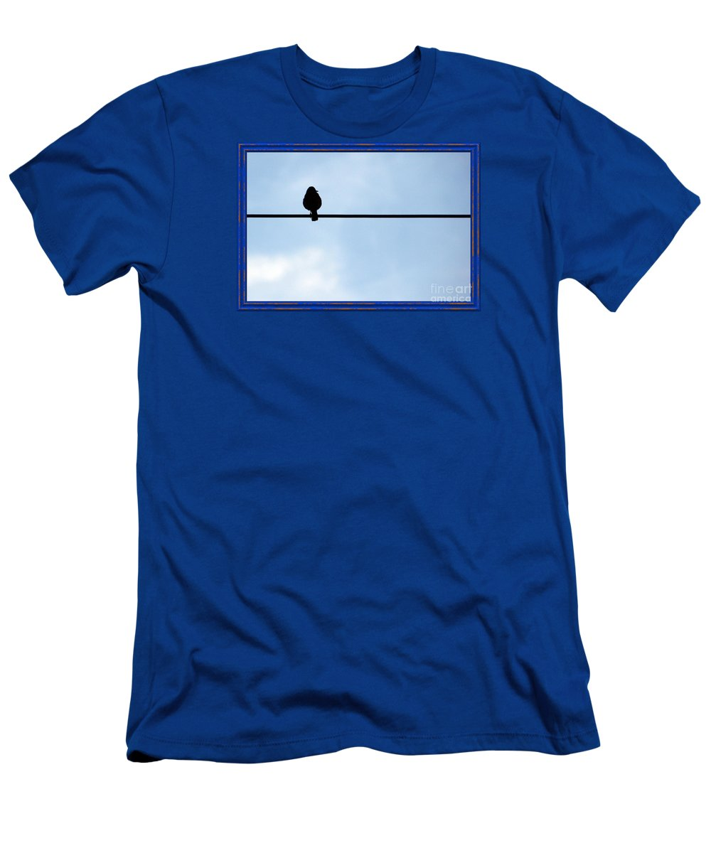 Photograph Men's T-Shirt (Athletic Fit) featuring the photograph Bird On The Wire by Anna Sheradon