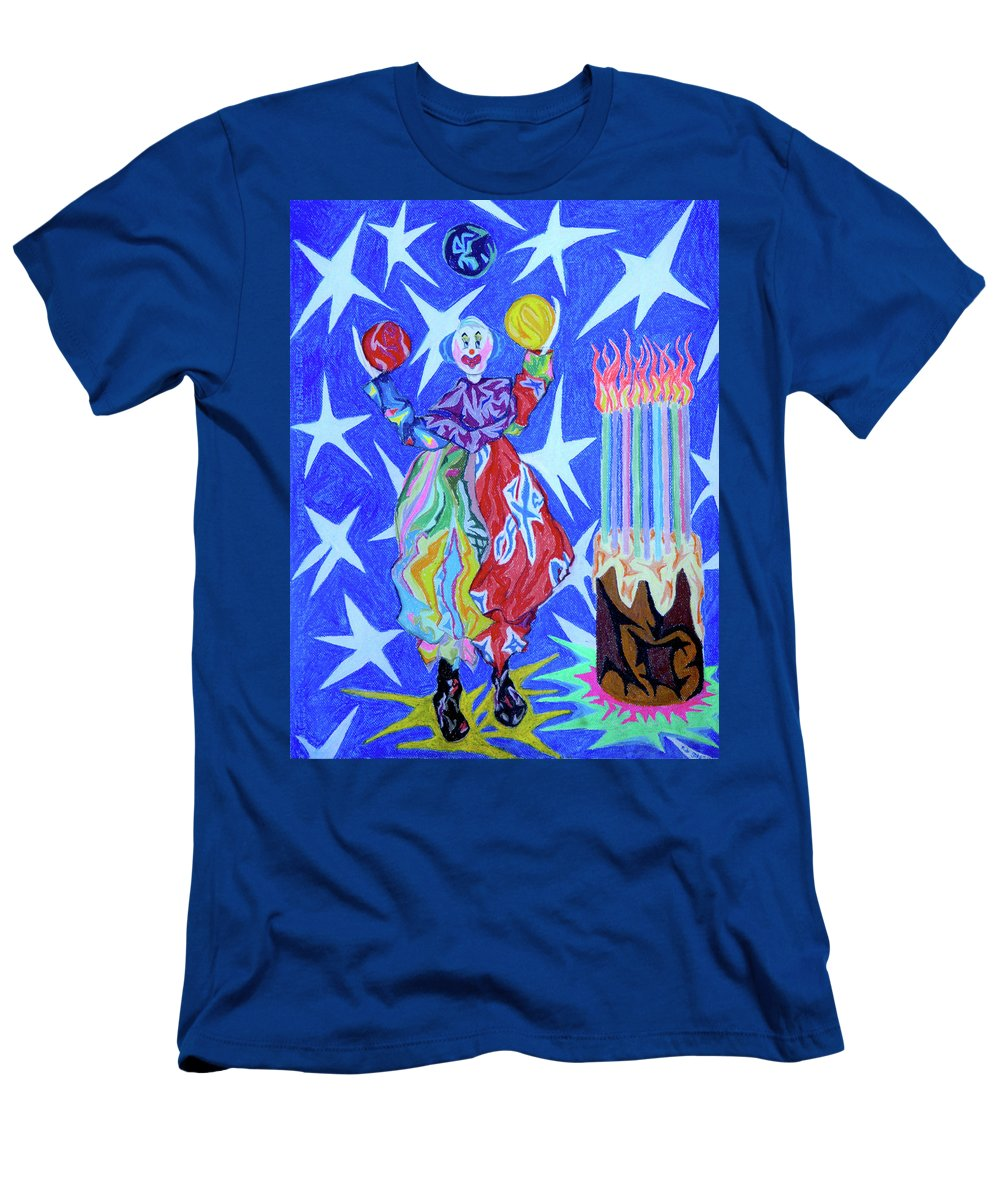 Birthday Men's T-Shirt (Athletic Fit) featuring the painting Birthday Clown by Robert SORENSEN