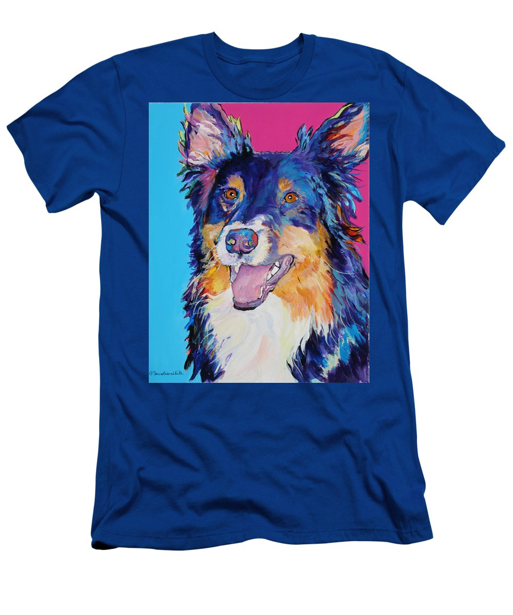 Dog Men's T-Shirt (Athletic Fit) featuring the painting Blackjack by Pat Saunders-White