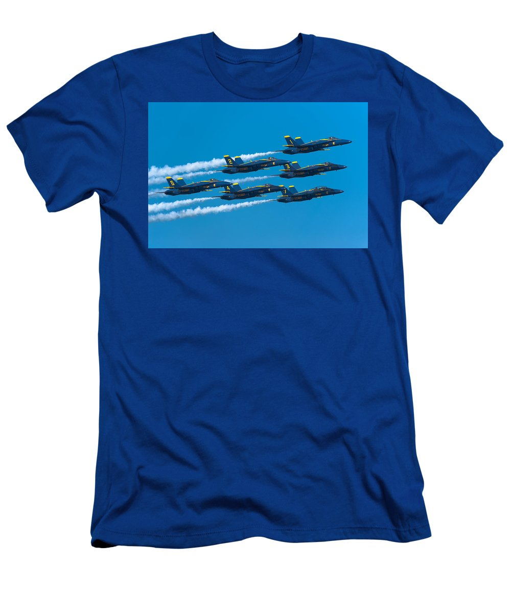 Us Navy Men's T-Shirt (Athletic Fit) featuring the photograph Blue Angels by Sebastian Musial