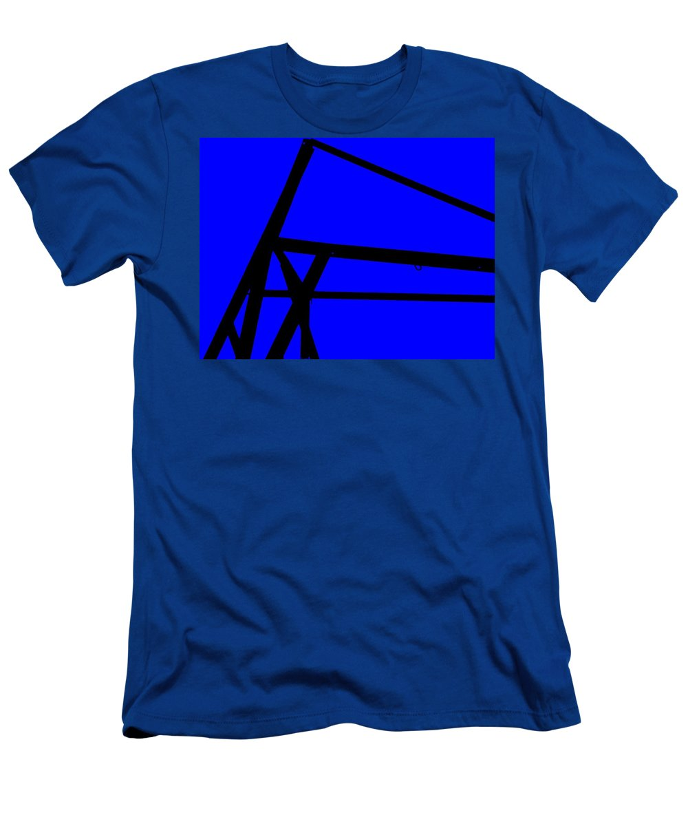 Blue Abstract Men's T-Shirt (Athletic Fit) featuring the painting Blue Angle Abstract by Eric Schiabor