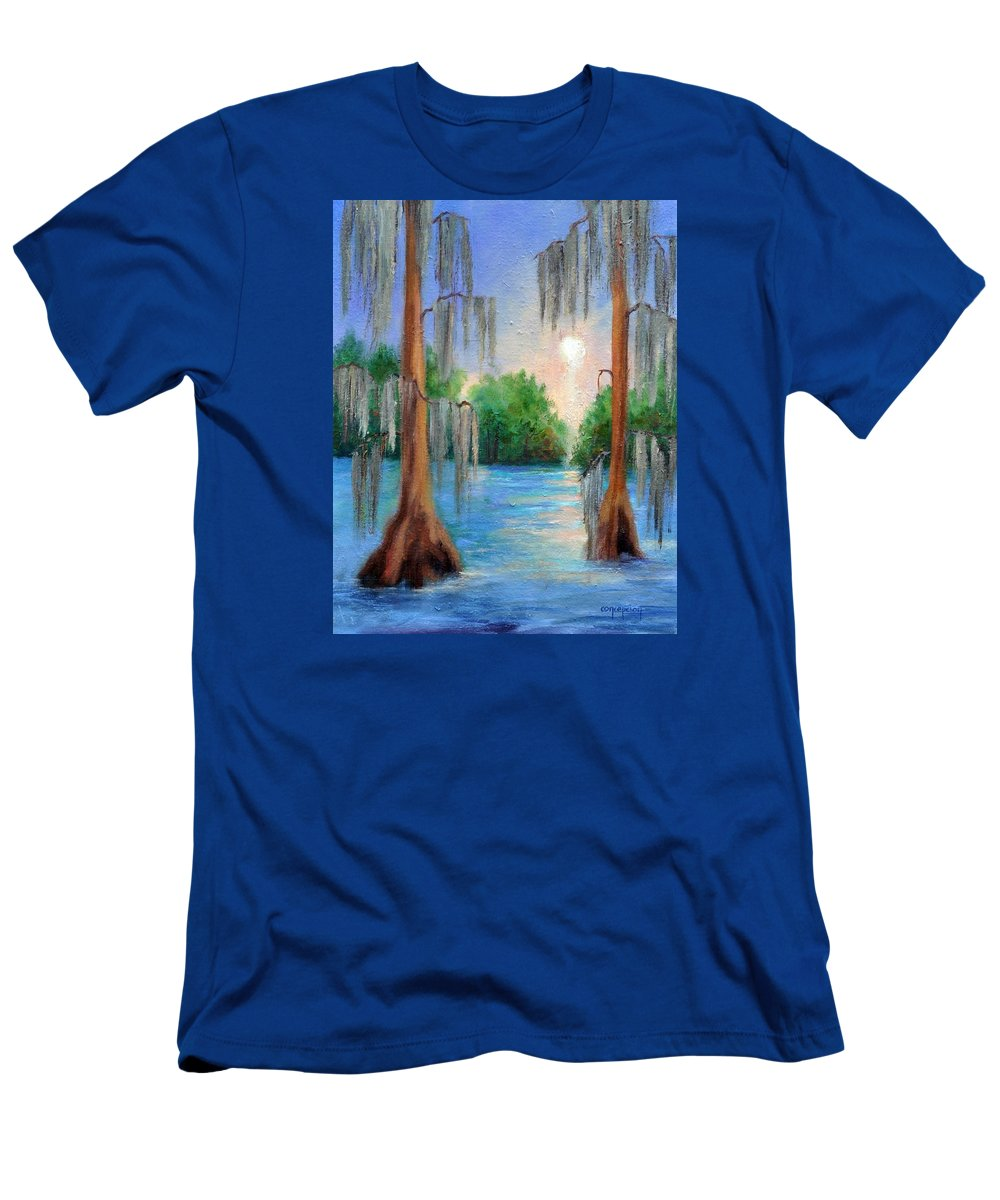 Bayou Landscape T-Shirt featuring the painting Blue Bayou by Ginger Concepcion