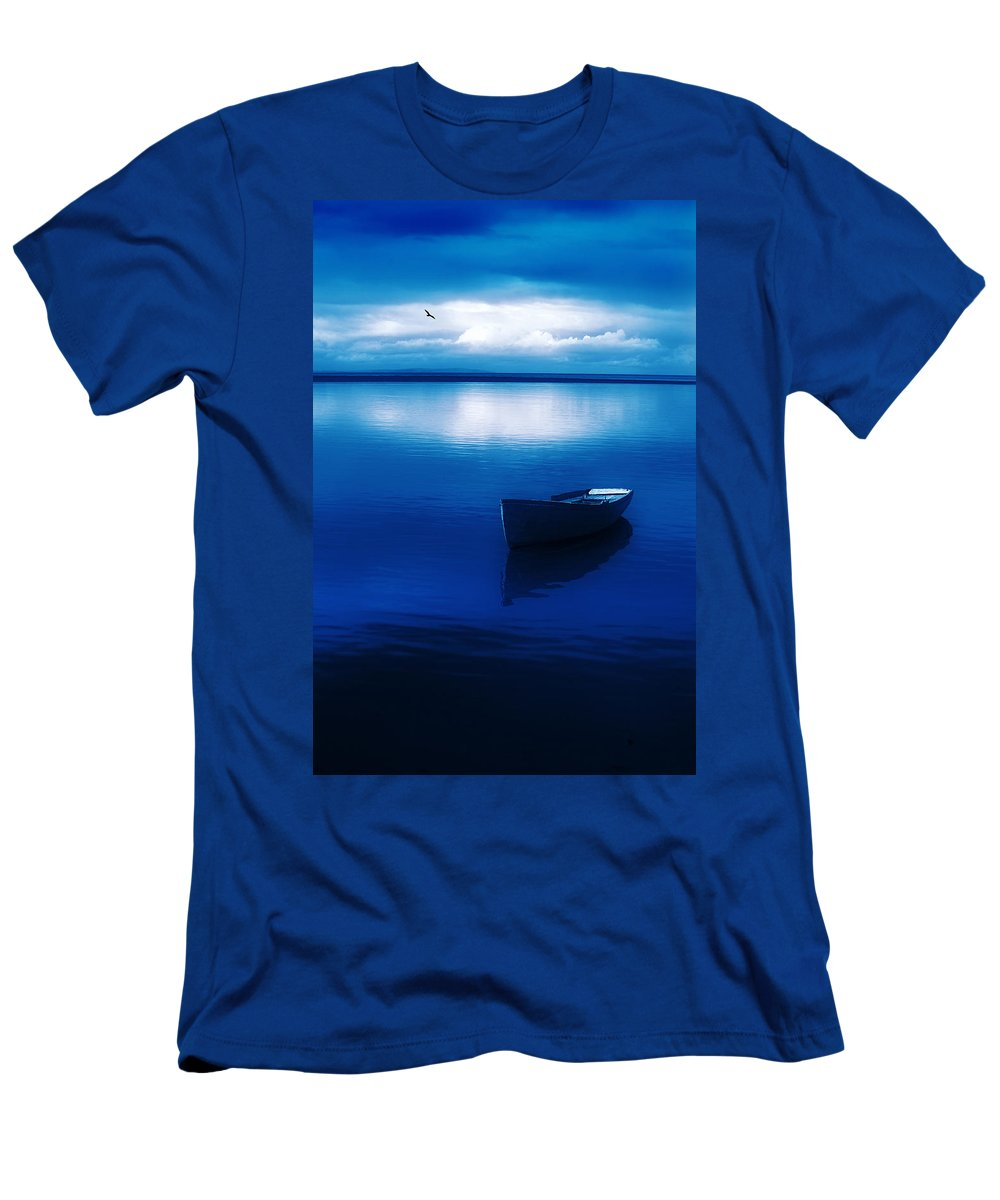 Boat Men's T-Shirt (Athletic Fit) featuring the photograph Blue Blue Boat by Mal Bray