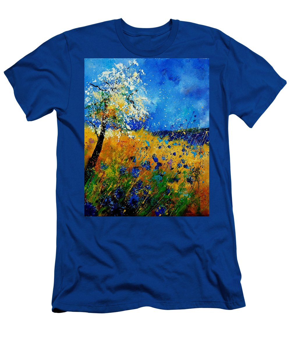 Poppies Men's T-Shirt (Athletic Fit) featuring the painting Blue Cornflowers 450108 by Pol Ledent