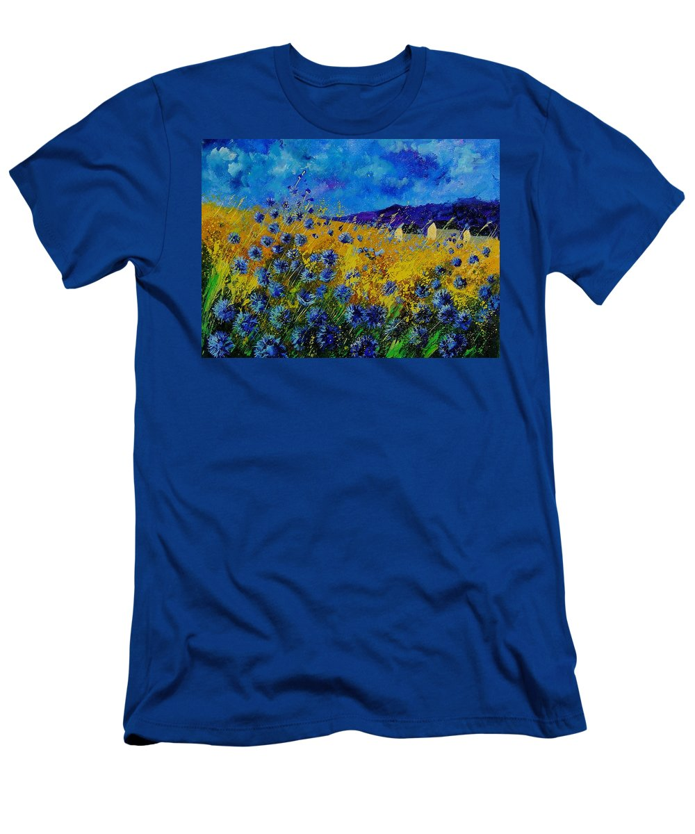 Poppies T-Shirt featuring the painting Blue cornflowers by Pol Ledent