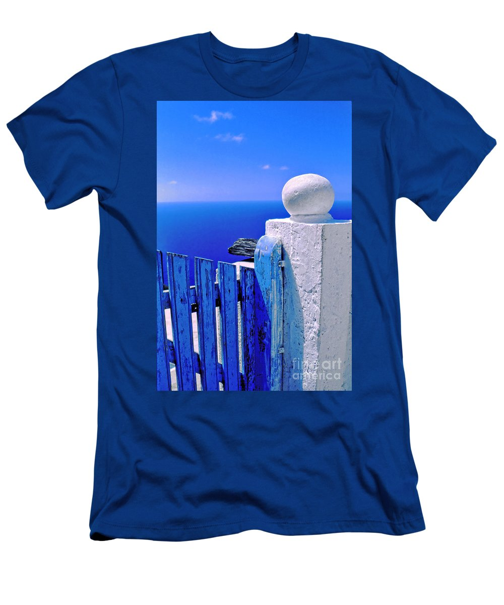 Blue Men's T-Shirt (Athletic Fit) featuring the photograph Blue Gate by Silvia Ganora