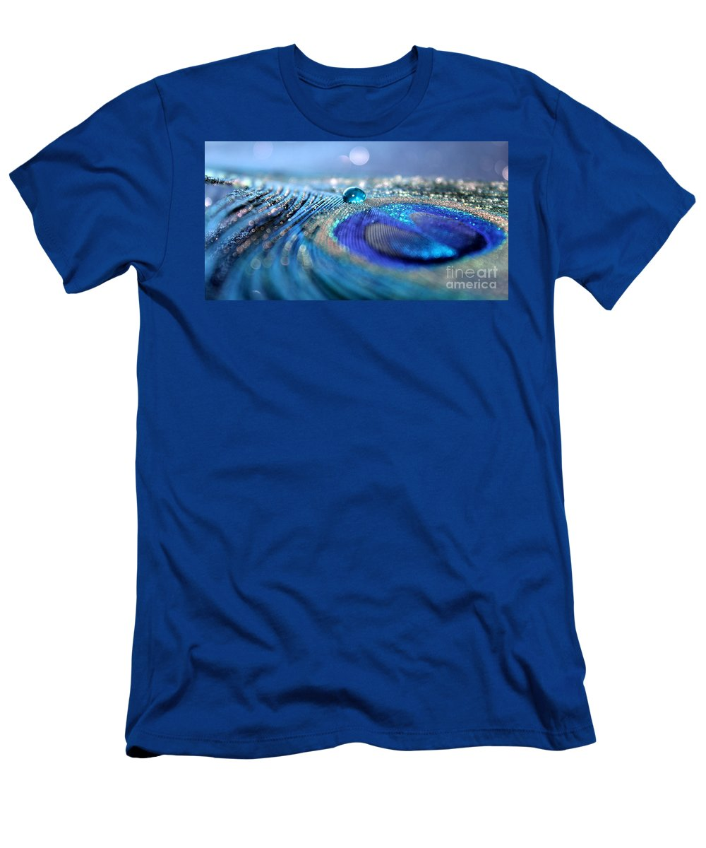 Peacock Feather Men's T-Shirt (Athletic Fit) featuring the photograph Blue Karma by Krissy Katsimbras