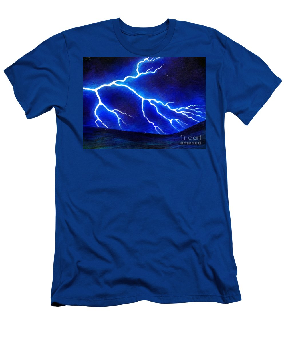 Blue Men's T-Shirt (Athletic Fit) featuring the painting Blue Lightning Above The Ocean by Sofia Metal Queen