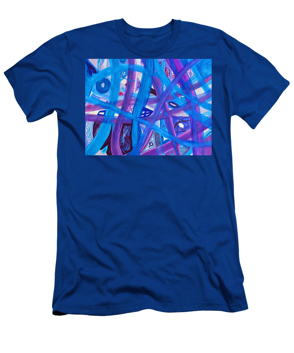 Abstract Men's T-Shirt (Athletic Fit) featuring the painting Blue Purple Paths by Lee Serenethos