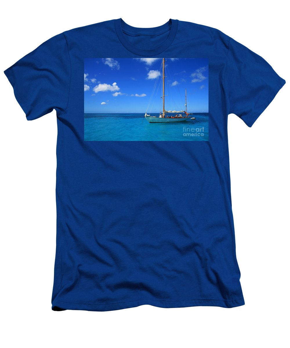 Sail Men's T-Shirt (Athletic Fit) featuring the photograph Blue Sailing by Perry Webster