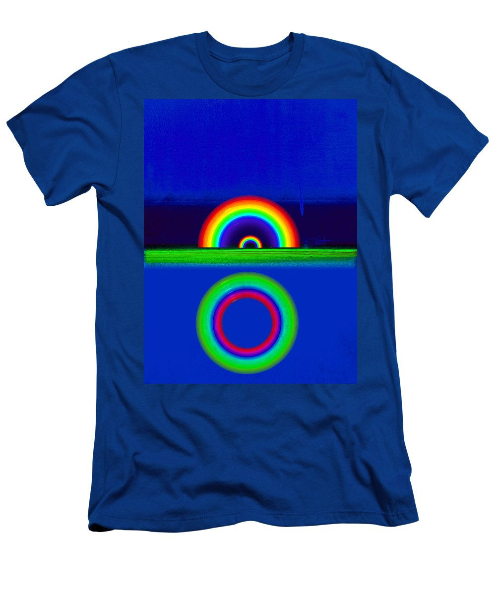 Rainbow Men's T-Shirt (Athletic Fit) featuring the painting Blue Sunset by Charles Stuart