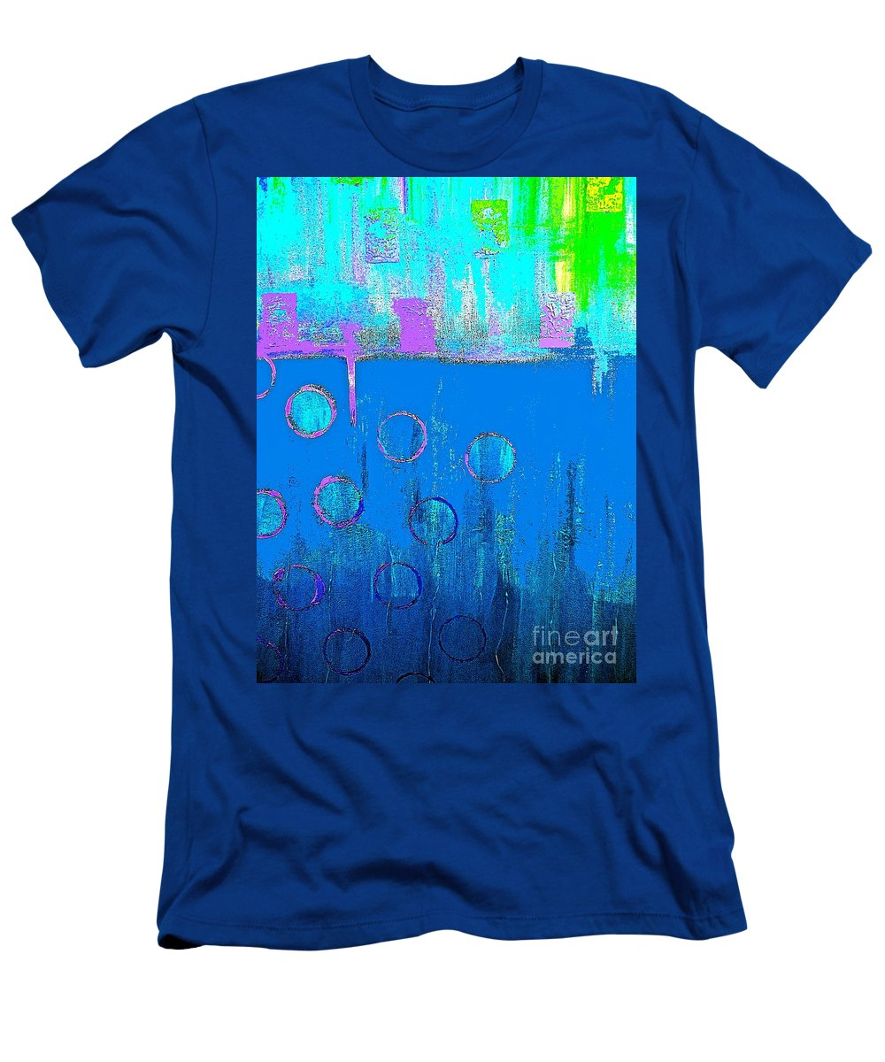 Blue Men's T-Shirt (Athletic Fit) featuring the painting Blue Water And Sky Abstract by Saundra Myles